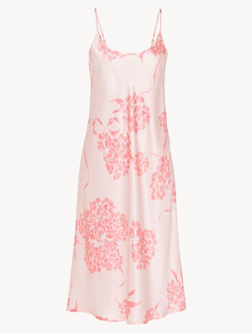 Camicia da notte midi in seta con motivi floreali rosa tenue