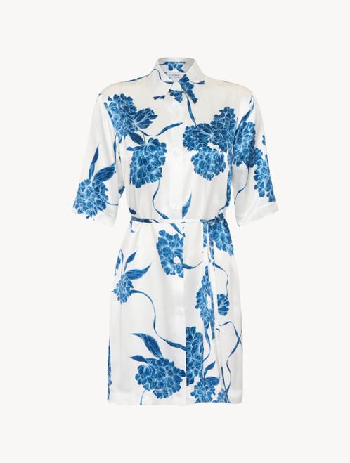Camicia da notte in seta con motivi floreali azzurro polvere