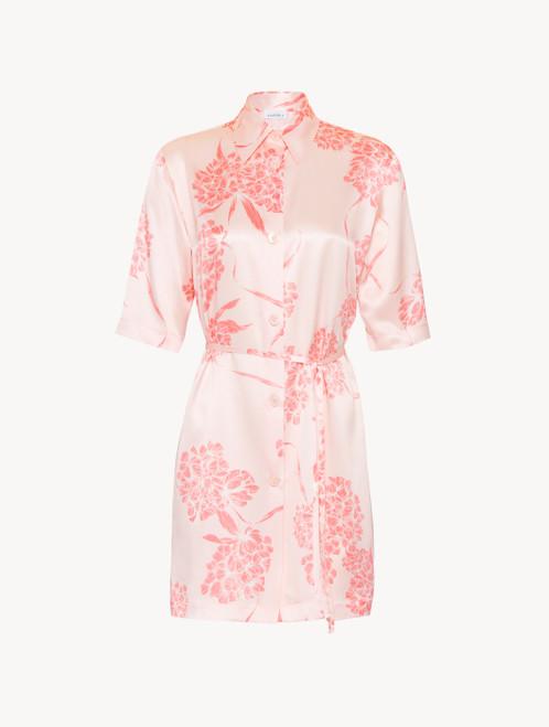 Camicia da notte in seta con motivi floreali rosa tenue