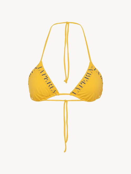 Reggiseno mare a triangolo giallo con logo