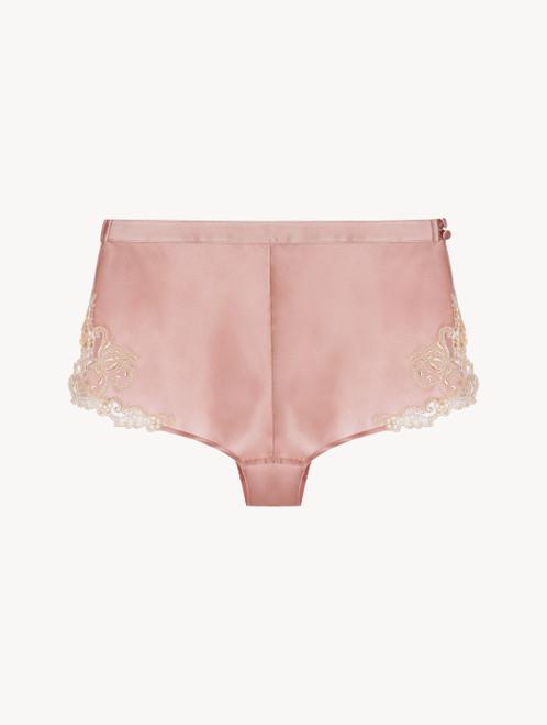 Short in raso di seta rosa cipria con ricamo a frastaglio