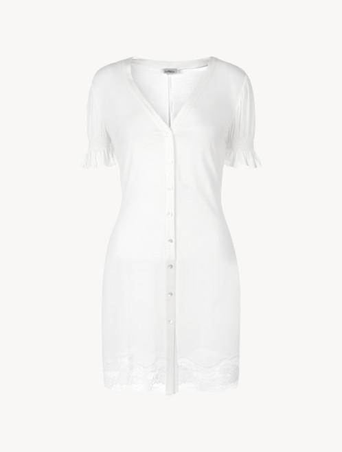 Camicia da notte in modal off-white con pizzo Leavers