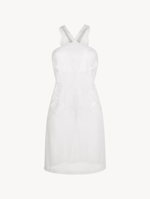 Camicia da notte corta in pizzo bianco