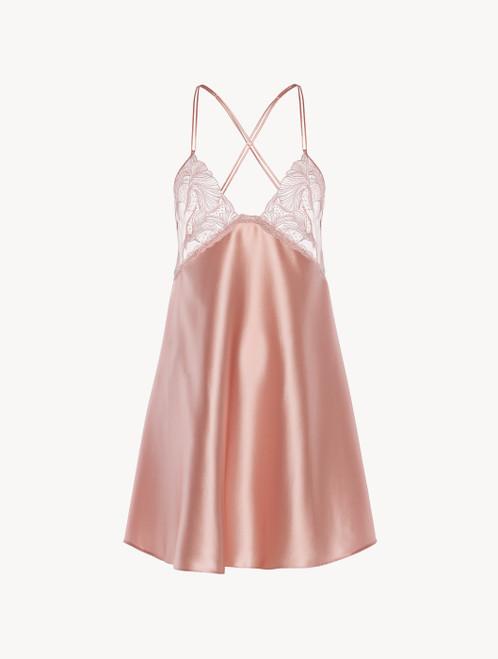 Slipdress in raso di seta e tulle rosa