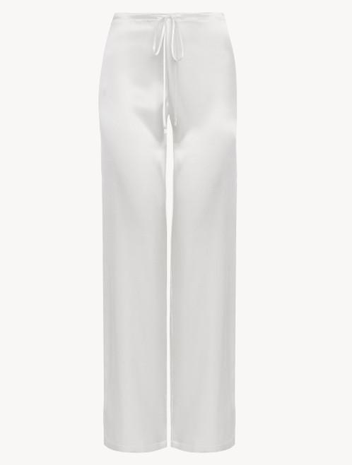 Pantalone in seta off-white