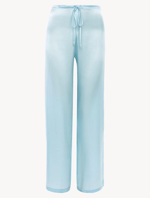 Pantalone in seta celeste