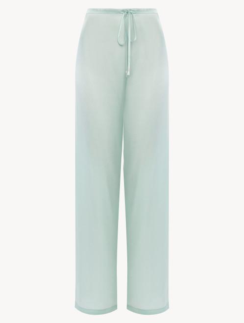 Pantalone in seta verde menta