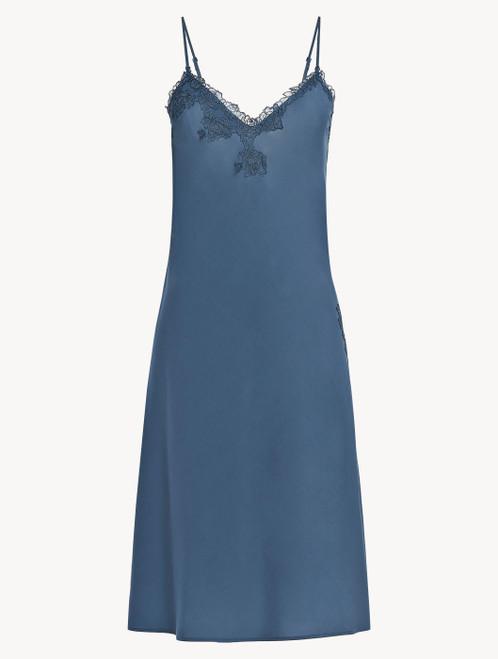 Camicia da notte corta in viscosa blu fiordaliso con tulle
