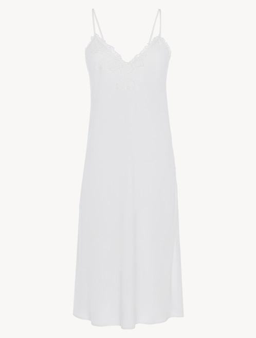 Camicia da notte corta in viscosa off-white con tulle