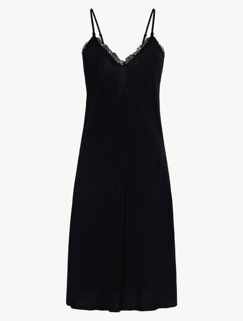 Camicia da notte corta in viscosa nera con tulle