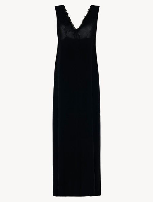 Camicia da notte lunga in viscosa nera con tulle