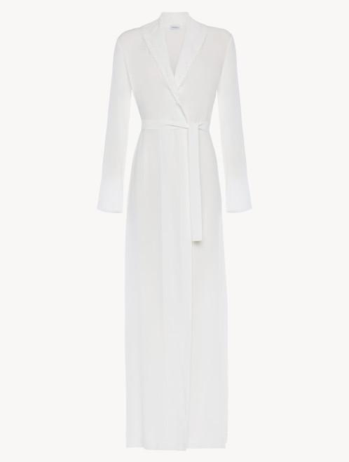 Vestaglia lunga in viscosa off-white con tulle