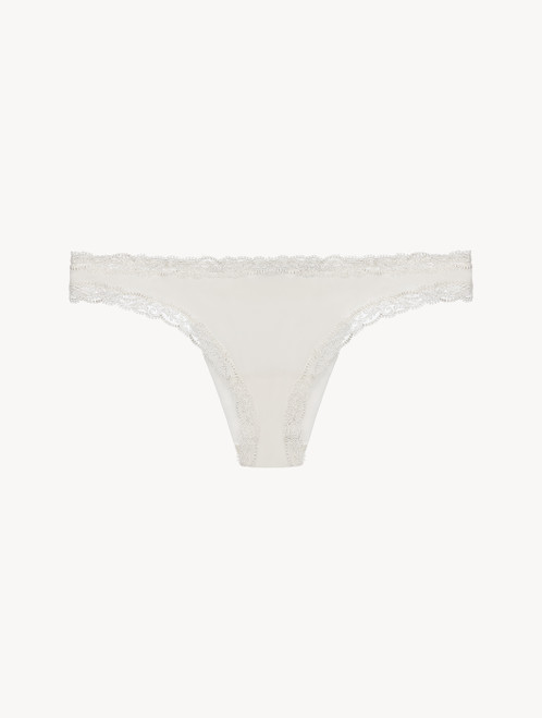 Slip brasiliano off-white in tulle ricamato