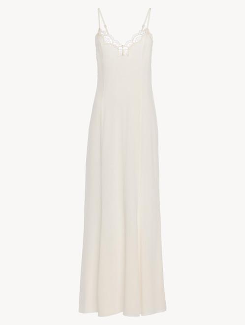 Camicia da notte lunga in tulle e georgette di seta off-white