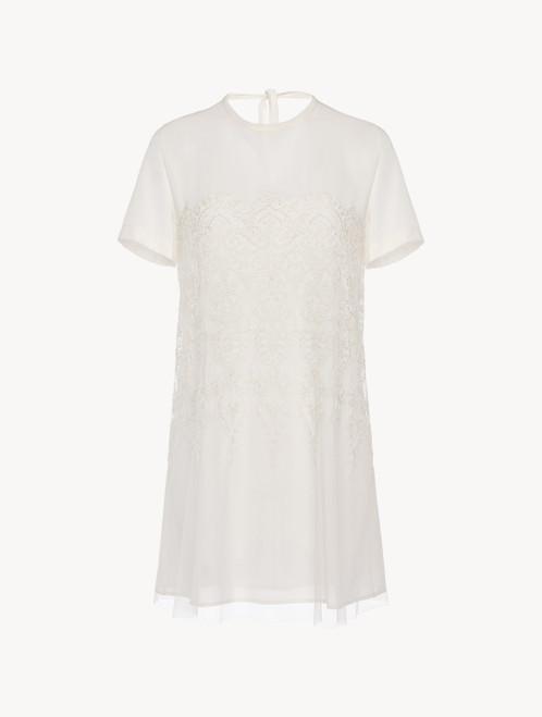 Camicia da notte corta in tulle e georgette di seta off-white