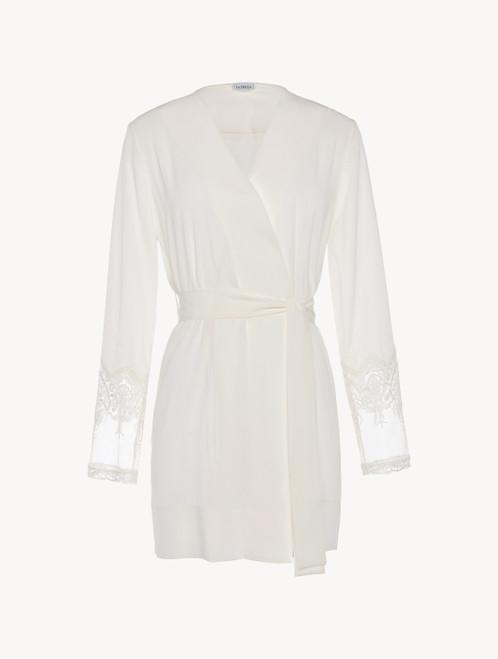 Vestaglia corta in tulle e raso di seta off-white