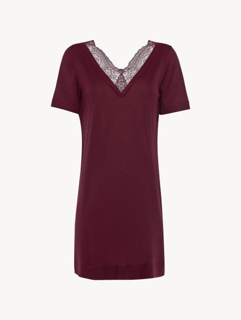 Camicia da notte corta in jersey modal rosso mirtillo