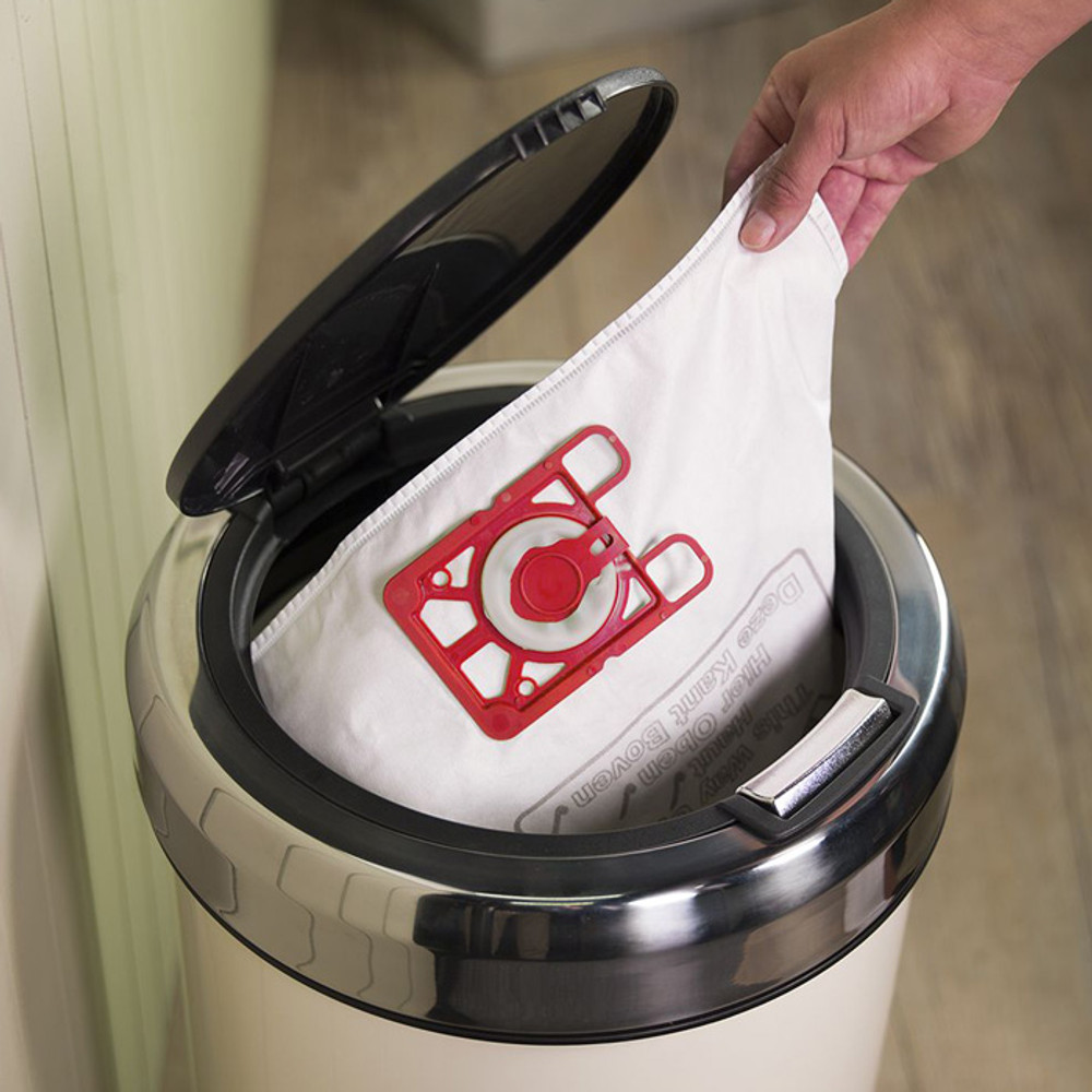 Disposable vacuum bags are used for added filtration
