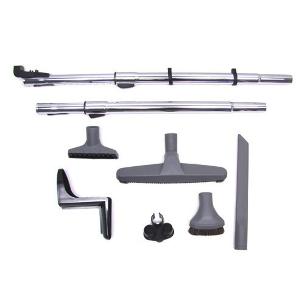 SEBO ET-1 kit includes: electric power nozzle, hose, and dedicated powerhead wand, dusting brush, crevice tool, upholstery tool, hose rack, bare floor brush and decided bare floor wand.