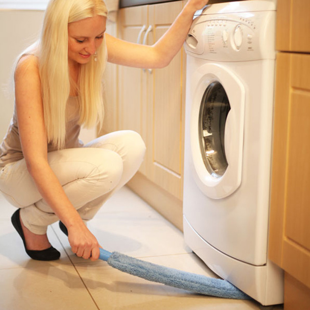 Dusting wand can be used to clean under appliances and in dryer vents.