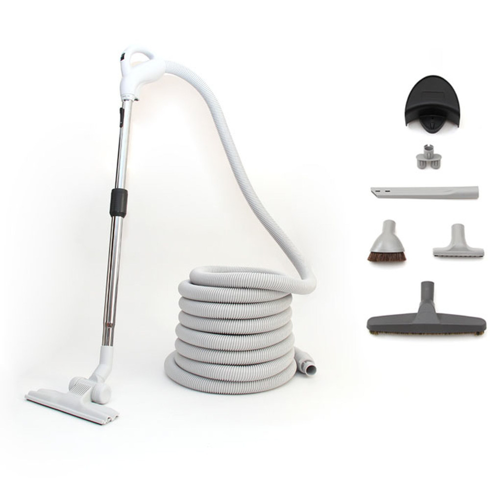 Beam Bare Floor Package also includes a flat carpet tool as well as a full set of attachments along with the 30' light weight vacuum hose.