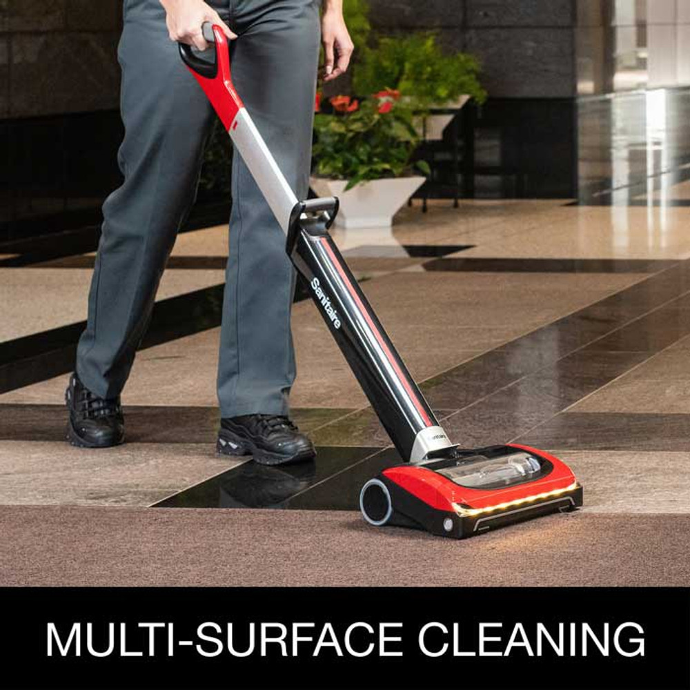 Cleans bare floors and carpets