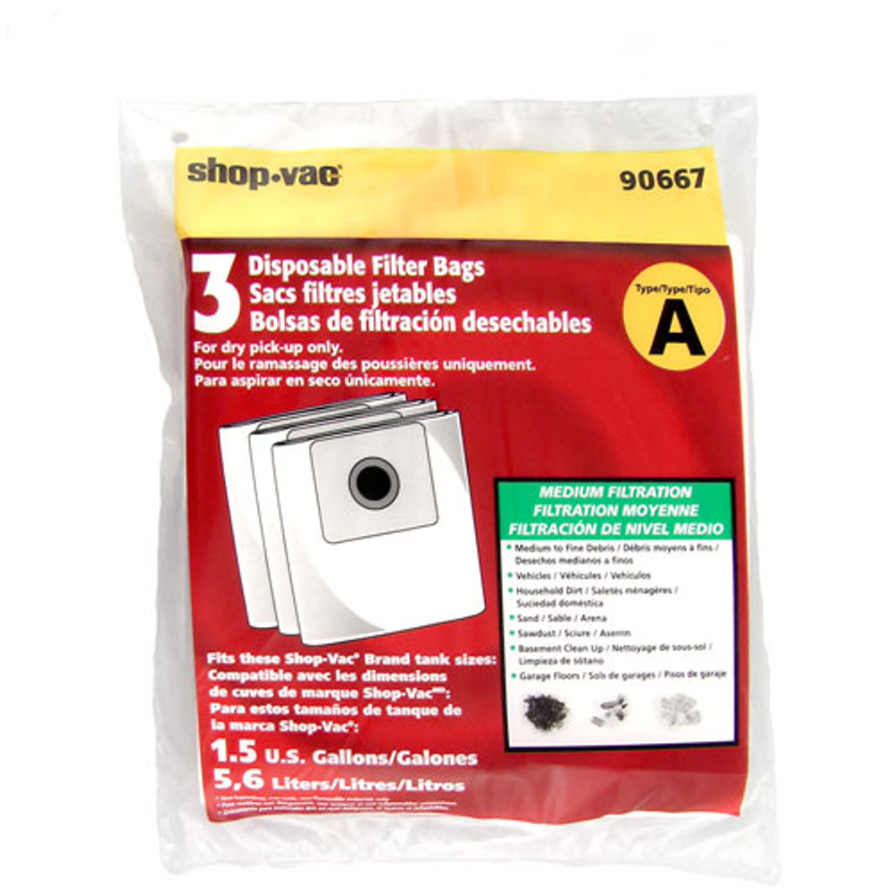 Shop Vac Type A Collection Bags 3pk