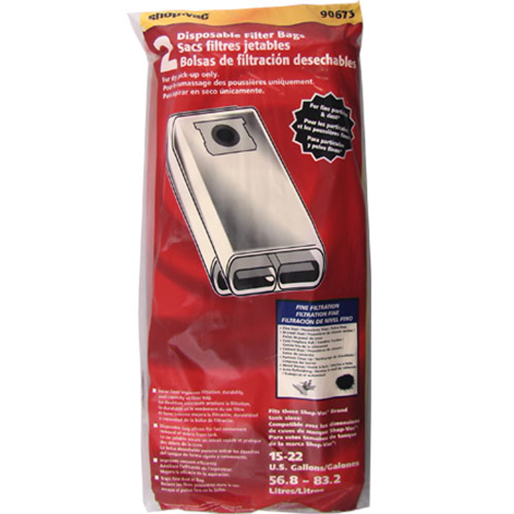 Shop Vac 15 to 22 Gallon High Efficiency Bags 2pk