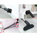 Crevice tool, upholstery tool, and dusting brush can be used for above floor cleaning