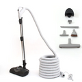 Package includes: powerhead, hose, telescopic wand, floor brush, dusting brush, upholstery tool, crevice tool, tool caddy, and hose hanger.