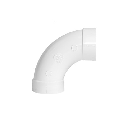 90 Degree Sweep Elbow - White PVC