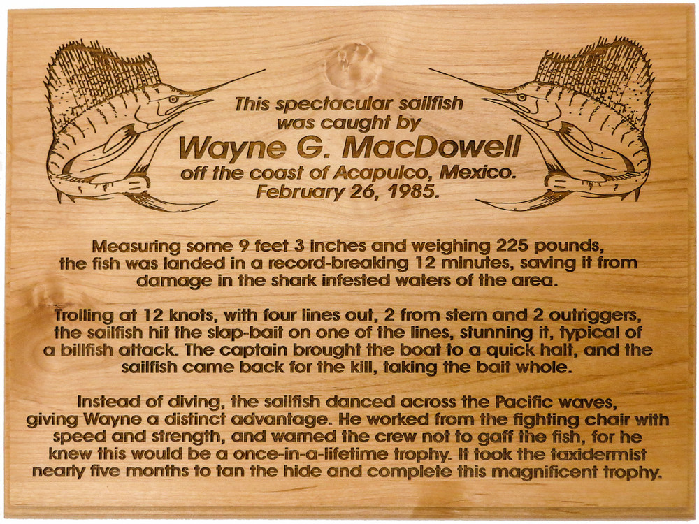 Custom Trophy Fish story Plaque.  Commemorate your great fishing store and hang this plaque below your trophy fish! Deeply Engraved and easy to read from a distance!