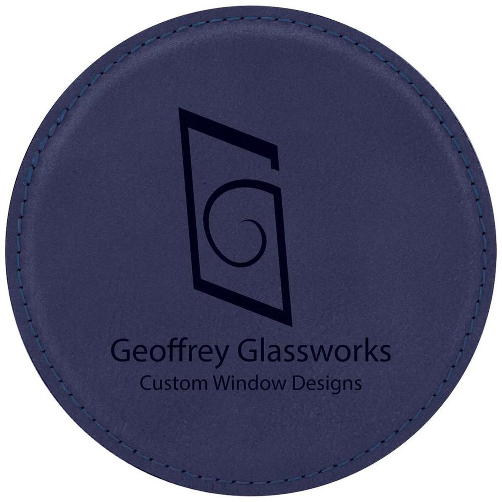 Unique blue leatherette coasters can match the unique decor in your glassworks showroom