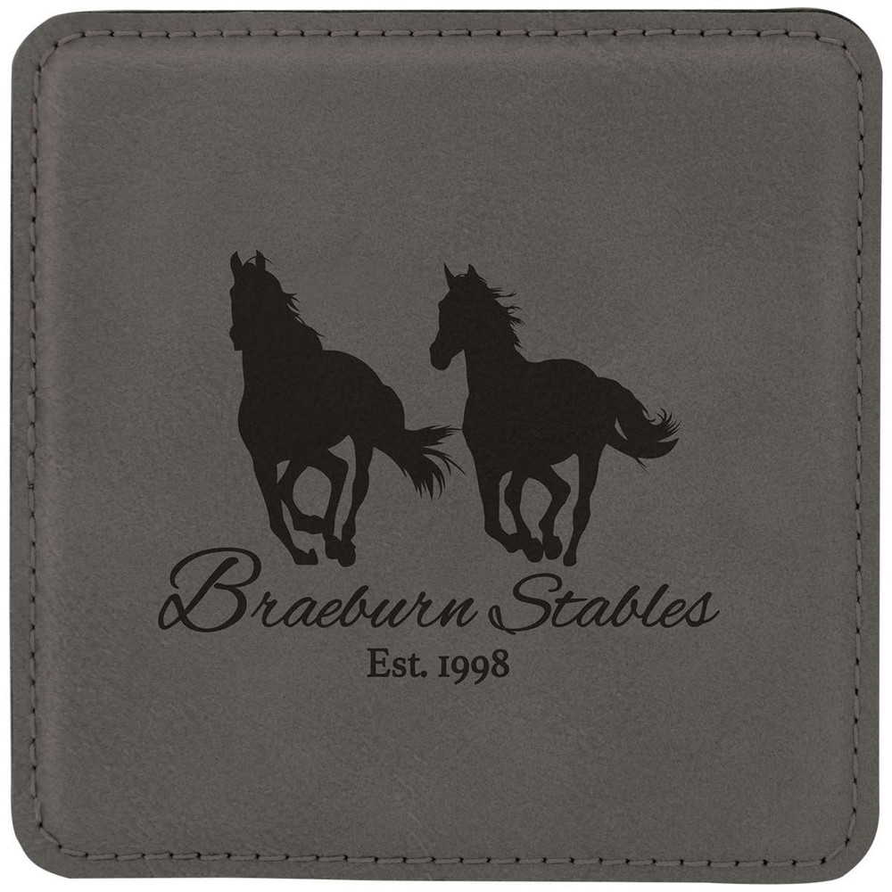 These classic grey and black custom coaster are available in large quantities for your entire riding club to enjoy!