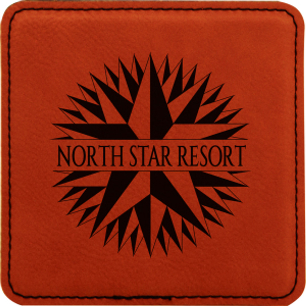 Add a touch of class with the beautiful rawhide leatherette coaster.