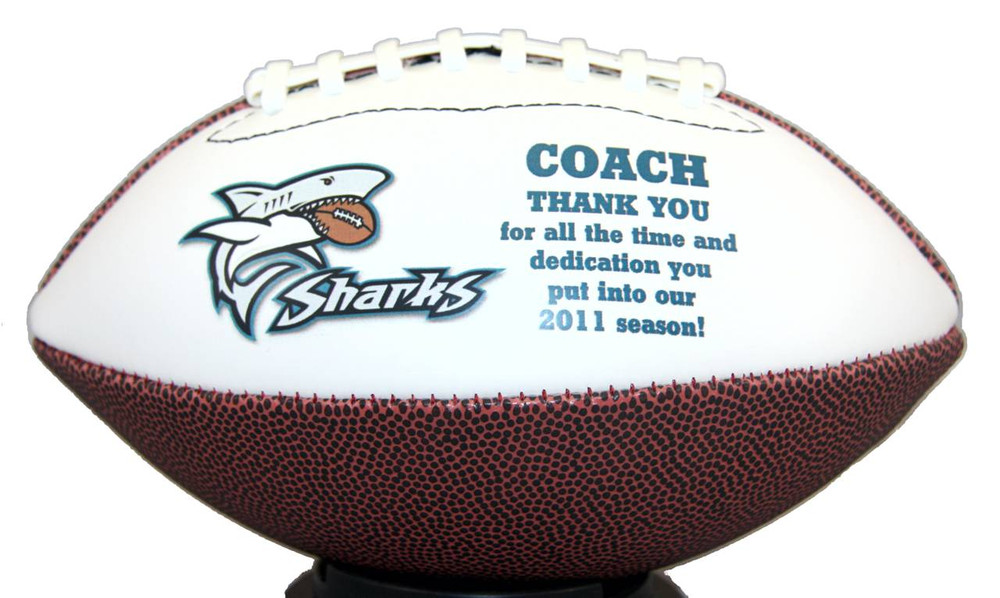 Thank your coach for their dedication to your team with our custom footballs!