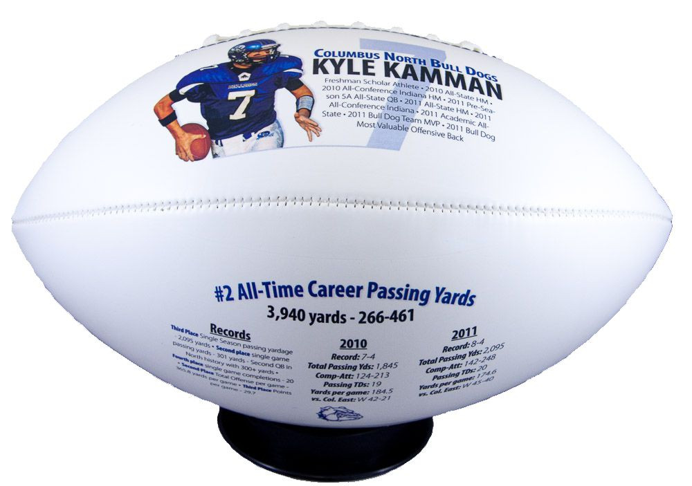 A great conversation piece commemorating a football players past accomplishments.