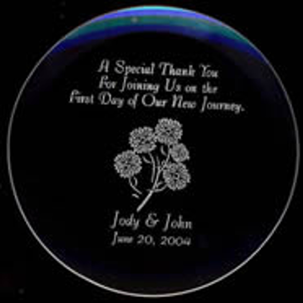 Personalize a Laser Engraved Glass Coaster to protect your furniture. Great way to show your appreciation on your special day. Customizing a Glass Coaster with your name, date and special occasion would be a stylish addition to any space. Great gifts for wedding gifts, holidays, recognition and special event.