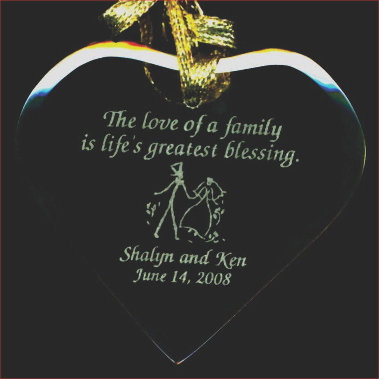 Heart Shaped Wedding Favor Ornament with Bride & Grooms Stick People