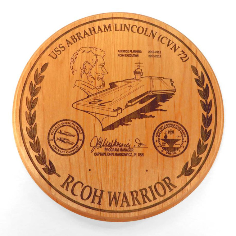 Custom USS Abraham Lincoln Aircraft Carrier Plaque for US Navy.