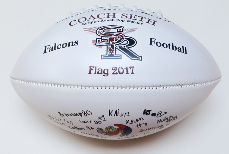 Signature footballs incorporate your teams actual signatures in our imprint designs.