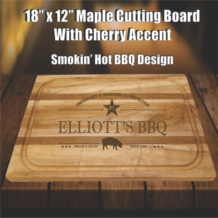Personalized Large Maple & Cherry Cutting Board - Smokin' Hot BBQ Design