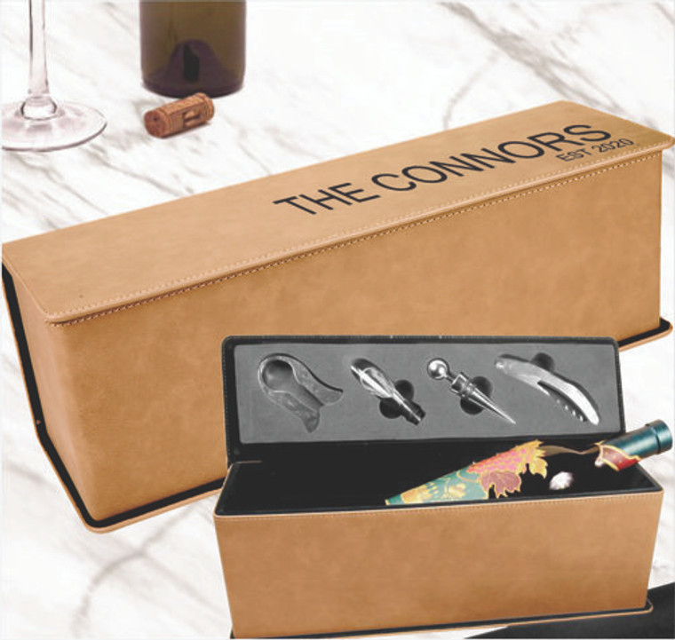 Personalized Leatherette Wine Box Showing Personalization and Inside View