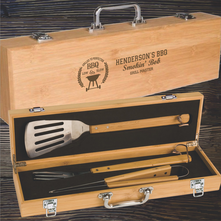 Bamboo BBQ Tool Real Estate Gift Set