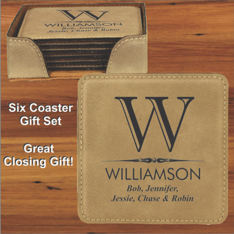 Personalized Leatherette Coaster Gift Set