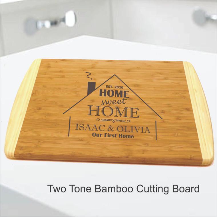 Two Tone Bamboo Cutting Board Home Sweet Home Design