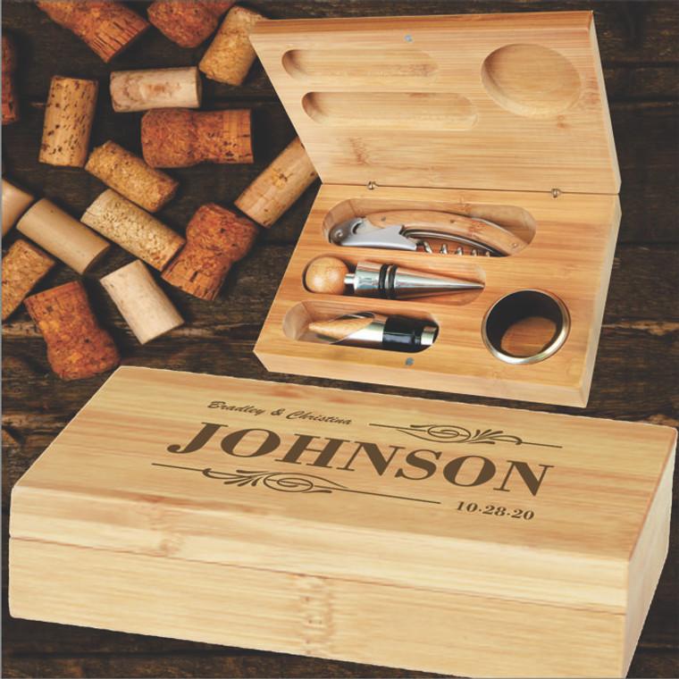 Bamboo 4pc. Wine Tool Realtor's Closing Gift Set