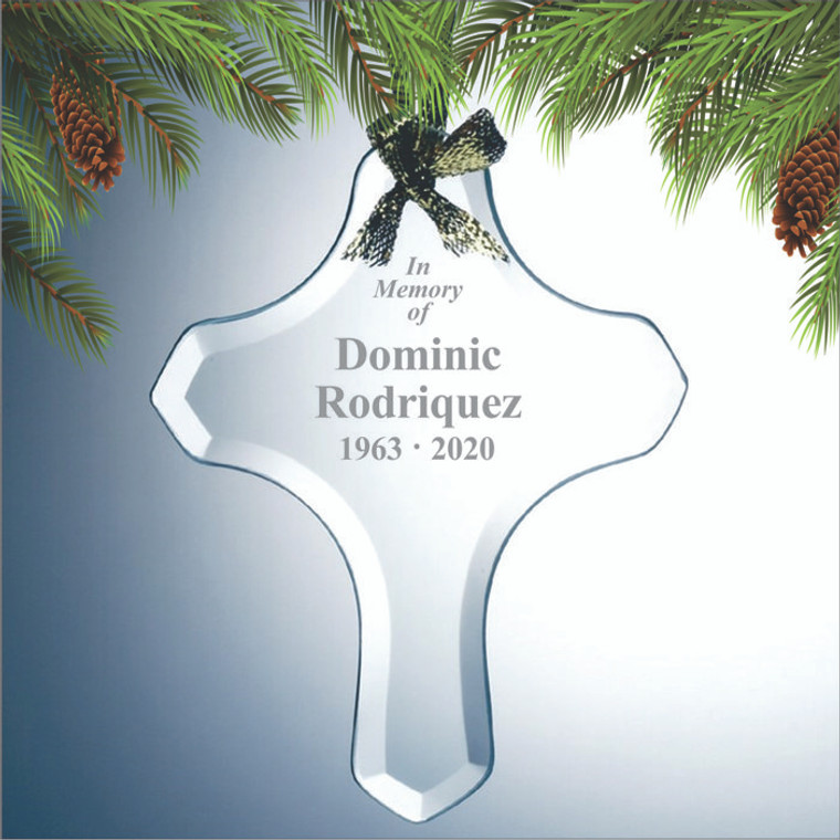 Cross Beveled Glass Personalized Memorial Ornament
