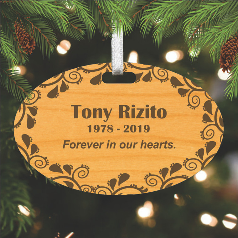 Engraved Wood Memorial Ornament