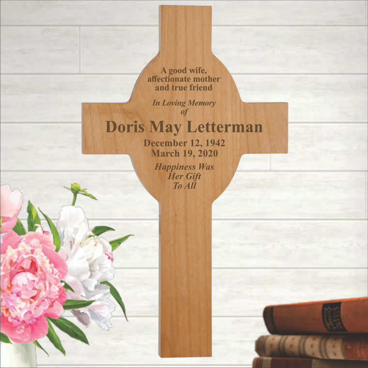 Laser Engraved Personalized Memorial Wall Cross